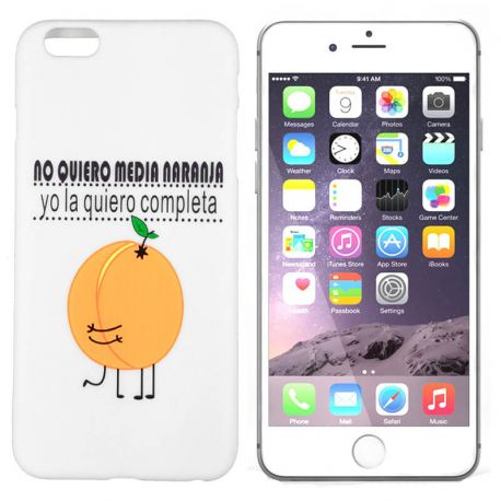 Funda de TPU para iPhone 6 Plus Media Naranja Silicona Blanco