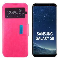 Funda Flip Cover con Tapa y Ventana para Samsung Galaxy S8 Rosa