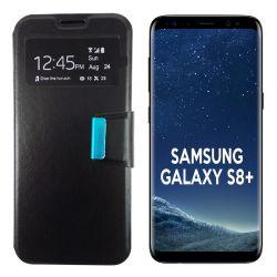 Funda Flip Cover con Tapa y Ventana para Samsung Galaxy S8 Plus Negro