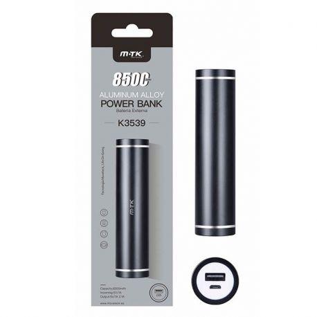 Bateria Externa Power Bank Aluminio Negro K3539 8500 mAh + Cable Usb
