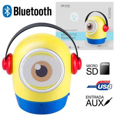 Altavoz Bluetooth Minion K3550 3W Amarillo MP3 Radio FM y Manos Libres