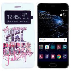 Funda libro Flip Cover Tapa y Ventana Huawei P10 Lite Pink Roses