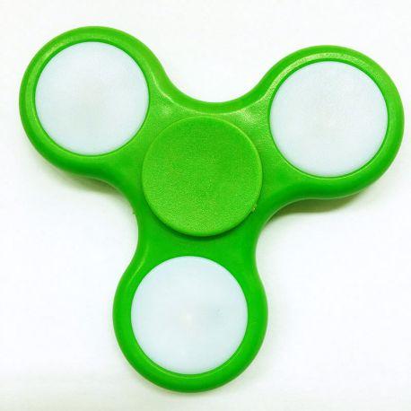 Fidget Spinner con Luces LED, Peonza dedo 3 puntas Antiestrés Verde