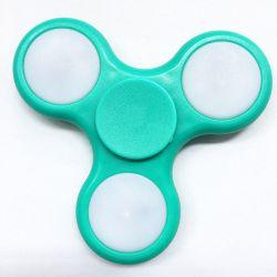 Fidget Spinner con Luces LED, Peonza dedo 3 puntas Antiestrés Turquesa