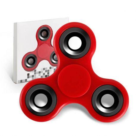 Fidget Spinner de Colores, Peonza dedo de tres puntas Antiestrés Rojo