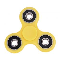 Fidget Spinner 3 rodamientos, Peonza dedo 3 puntas Antiestrés Amarillo