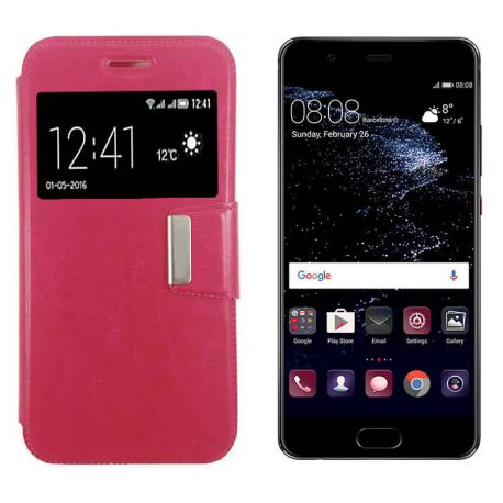 Funda libro Flip Cover Tapa, Ventana y Soporte Huawei P10 Lite Rosa