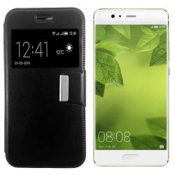 Funda libro Flip Cover Tapa, Ventana y Soporte Huawei P10 Plus Negro