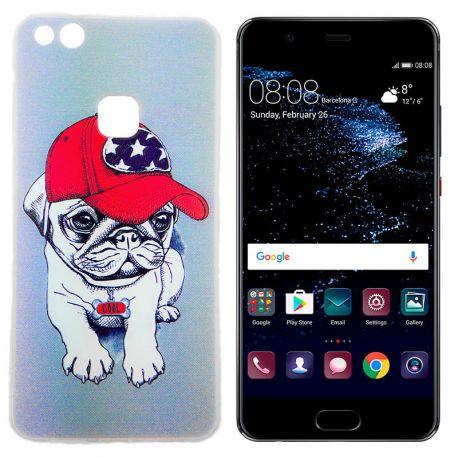 Funda TPU Dibujo Bulldog Gorra para Huawei P10 Lite Silicona Gris