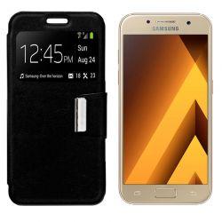 Funda Flip Cover con Tapa y Ventana para Samsung Galaxy A3 2017 Negro