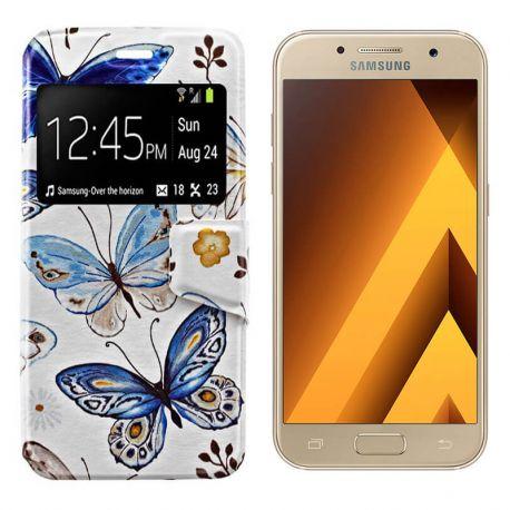 Funda libro Tapa y Ventana Samsung Galaxy A3 2017 Dibujo Mariposas