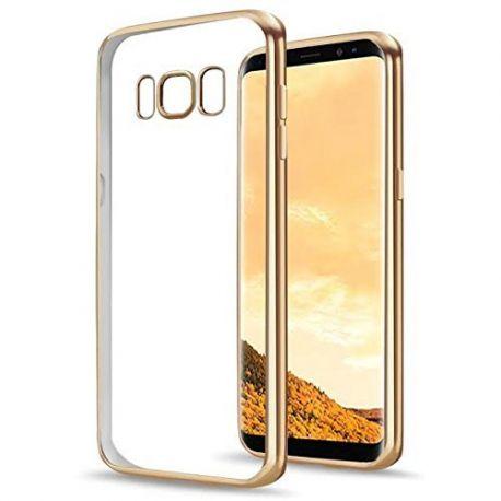 Funda TPU Transparente Samsung Galaxy S8 con Borde Dorado Metalizado