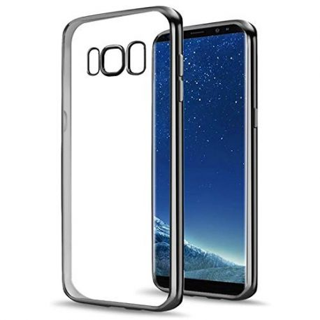 Funda TPU Transparente Samsung Galaxy S8 Plus Borde Negro Metalizado