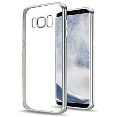 Funda TPU Transparente Samsung Galaxy S8 Plus Borde Plata Metalizado