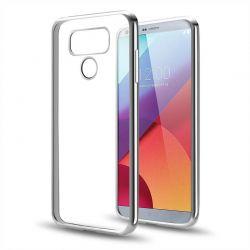 Funda TPU Transparente para LG G6 con Borde Plata Metalizado