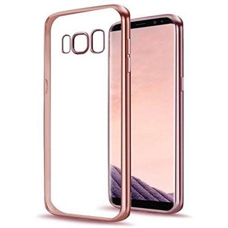Funda TPU Transparente Samsung Galaxy S8 Plus Borde Rosa Metalizado