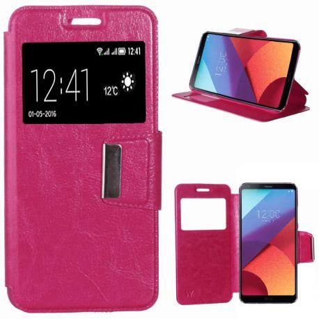 Funda libro Flip Cover Tapa, Ventana y Soporte para LG G6 Rosa