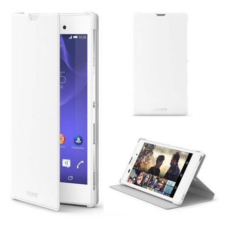 Funda Flip Cover Blanca con Tapa y Soporte Original Sony Xperia T3