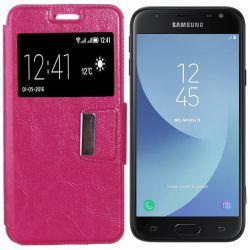Funda libro Flip Cover con Tapa y Ventana Samsung Galaxy J3 2017 Rosa