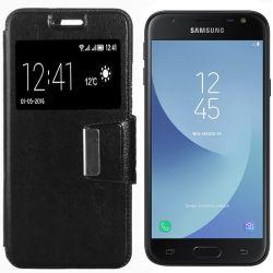 Funda libro Flip Cover con Tapa y Ventana Samsung Galaxy J3 2017 Negro