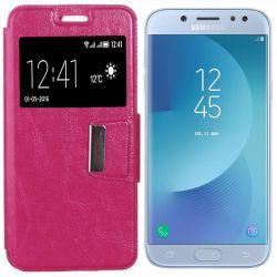 Funda libro Flip Cover con Tapa y Ventana Samsung Galaxy J5 2017 Rosa