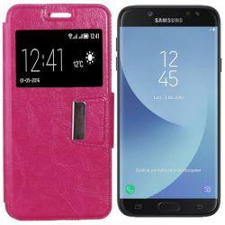 Funda libro Flip Cover con Tapa y Ventana Samsung Galaxy J7 2017 Rosa