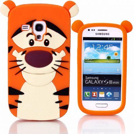 Funda 3D de Silicona Tiger Naranja para Samsung Galaxy S3 Mini