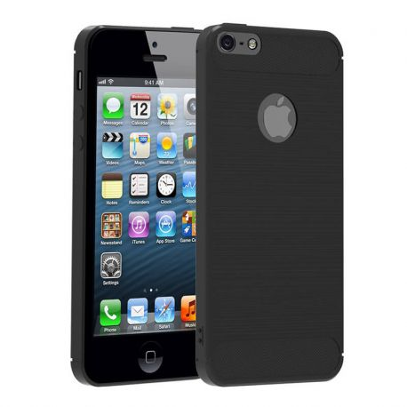 Funda TPU Forcell Carbon con diseño fibra carbono - iPhone 5 / 5S / SE