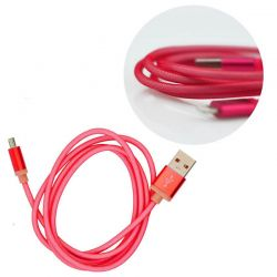 Cable Micro Usb Metal de Carga y Datos para Móvil y Tablet - Rojo