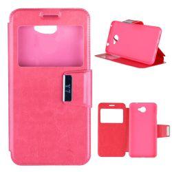Funda libro Flip Cover Tapa, Ventana y Soporte Huawei Y7 Rosa