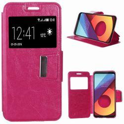 Funda libro Flip Cover Tapa, Ventana y Soporte para LG Q6 Rosa