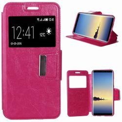 Funda libro Flip Cover con Tapa y Ventana Samsung Galaxy Note 8 Rosa
