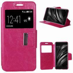 Funda libro Flip Cover Tapa, Ventana y Soporte para Xiaomi Mi6 Rosa
