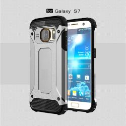 Funda tipo Tough Armor Tech para Samsung Galaxy S7 Plata