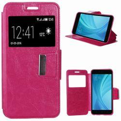 Funda libro con Tapa y Ventana para Xiaomi Redmi Note 5A Prime Rosa