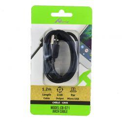 Cable de Carga y Datos Micro USB Negro 1,2 Metros para Móvil y Tablet