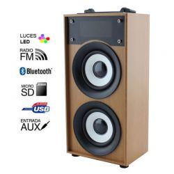 Altavoz Bluetooth 10W Madera Marrón, Radio FM y MP3 con USB y Micro SD