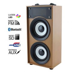 Altavoz Bluetooth 10W Madera Marrón, Radio FM y MP3 con USB y Micro SD