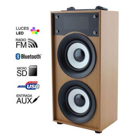 Altavoz Bluetooth 10W Madera Marrón, Radio FM, MP3 y Manos Libres