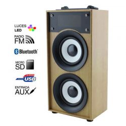 Altavoz Bluetooth 10W Madera Marrón Claro, Radio FM y MP3 con USB y SD