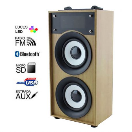 Altavoz Bluetooth 10W Madera Marrón Claro Radio FM, MP3 y Manos Libres