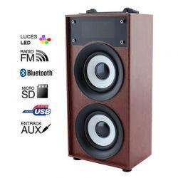 Altavoz Bluetooth 10W Madera Wengué, Radio FM y MP3 con USB y Micro SD