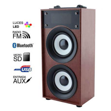 Altavoz Bluetooth 10W Madera Wengué, Radio FM, MP3 y Manos Libres