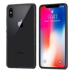 Funda de TPU con Borde Cromado Metalizado Negro - iPhone X