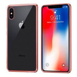 Funda de TPU con Borde Cromado Metalizado Oro Rosa - iPhone X