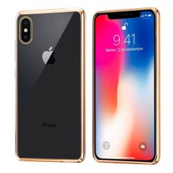 Funda de TPU con Borde Cromado Metalizado Oro - iPhone X