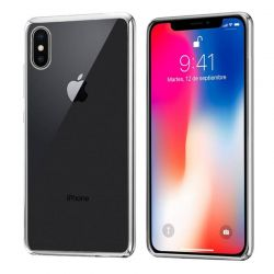 Funda de TPU con Borde Cromado Metalizado Plata - iPhone X