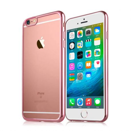 Funda de TPU con Borde Cromado Metalizado Oro Rosa - iPhone 6 Plus