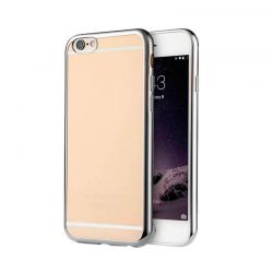 Funda de TPU con Borde Cromado Metalizado Plata - iPhone 6 Plus