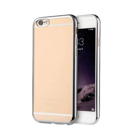 Funda de TPU con Borde Cromado Metalizado Plata - iPhone 6 Plus